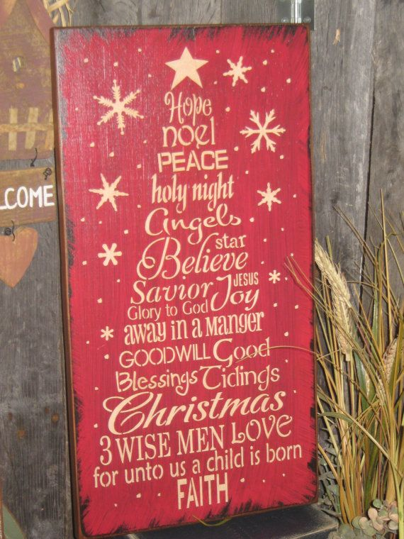 "Primitive Wood Painted Christmas Holiday Wishes RED Sign "" Worded Christmas Tree ""  Love SPirit Noel SUBWAY Sign art Country Folkart Winter on Etsy, $32.95"