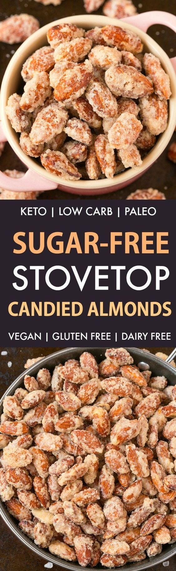 Easy Sugar-Free Candied Almonds (Keto, Low Carb, Paleo)- Stovetop made candied almonds made with zero sugar or oil- Perfect for holidays, gifts and every day guilt-free snacking! {vegan, gluten free, dairy free recipe}- #almonds #sugarfree #lowcarb #ketodessert | Recipe on thebigmansworld.com
