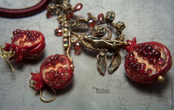 """Купить Комплект """"Песнь ноября"""" - бордовый, гранат, украшение на шею, украшение для женщины, колье"""