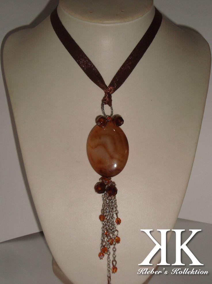 natural stone (agatha) and crystals with silk cord. #kk #moda #fashion #diy