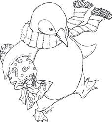 Christmas Penguin digi stamps | ... Bella Stamp PENGUIN WITH GIFT by Mo Manning Rubber UM Christmas MO138