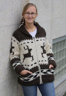 Shawnigan Jacket by Ram Wools Yarn Co-op FREE PATTERN on Ravelry in sizes S-XL this Cowichan-style jacket comes with four animal charts-deer,bear,eagle & salmon so you can knit whichever design you prefer