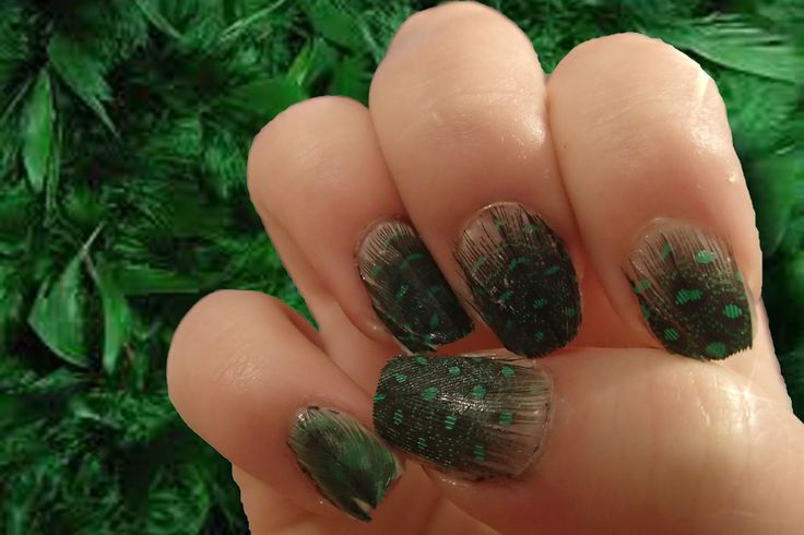 Green feathered nails