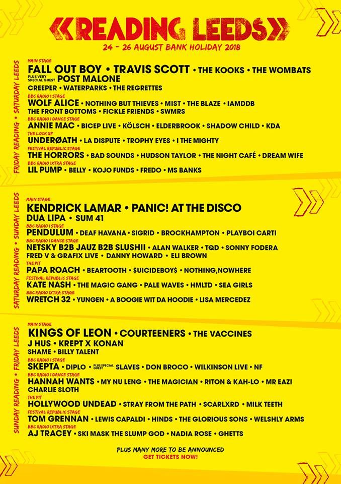 Reading and Leeds lineup for The Bank Holiday in August