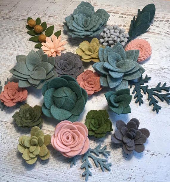 Wool Felt Succulents and Flowers 18 Flowers & 4 leaves