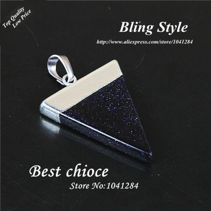 Посеребрение Bluesand куски агат Druzy камень треугольник форма синий самоцветы точка исцеление кулон ожерелье