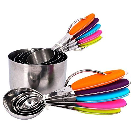 EasyCake - 10 Measuring Spoons and 10 Measuring Cups - Eco-Friendly Stainless Steel Material - Complete Package - Food Safety Silicone and Rubber Insulated | 138.04 - Cool Kitchen Gifts