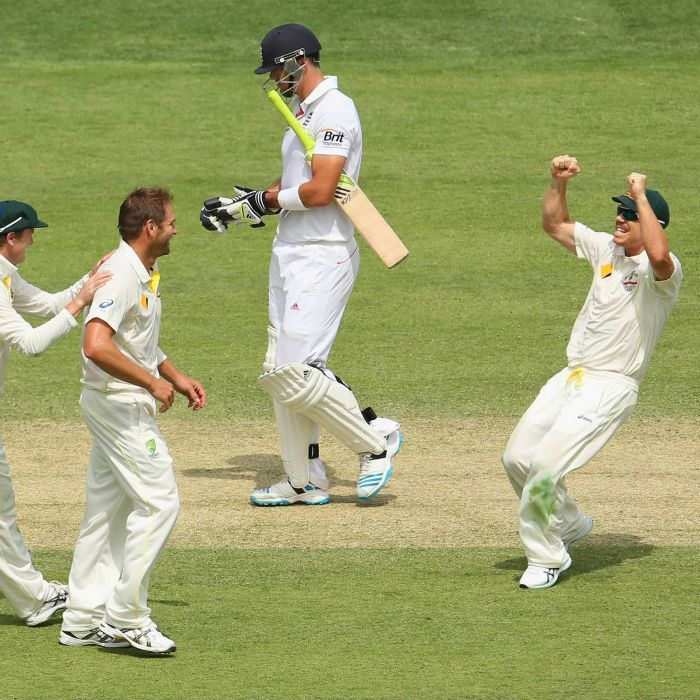 Harris and Warner celebrate Pietersen dismissal - Australia's George Bailey, Ryan Harris and David Warner celebrate the wicket of England's Kevin Pietersen during day two of the first Ashes Test at the Gabba on November 22, 2013 in Brisbane. Getty Images: Mark Kolbe