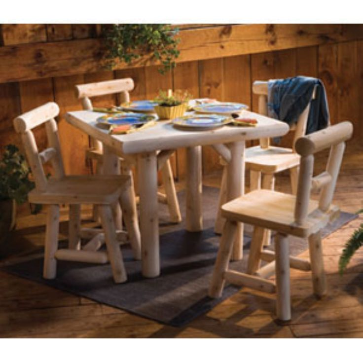 Outdoor Rustic Natural Cedar Furniture Old Country 5 Piece Solid Wood Dining Set - RC133