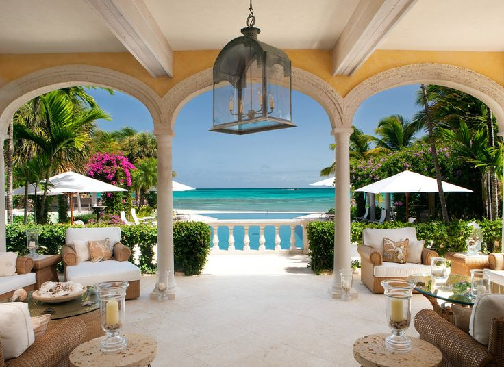 Where to Stay in the Caribbean?-   Jumby Bay, A Rosewood Resort St. John's, Caribbean property Resort Villa room mansion vacation home hacienda interior design palace real estate caribbean furniture living room restaurant area decorated colonnade
