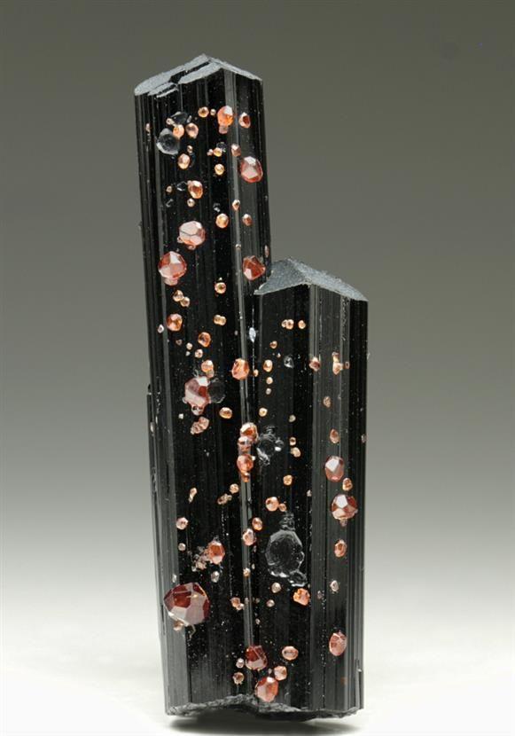 Spessartine Garnet on Schorl Tourmaline from Pakistan. Crystal Classics Minerals.