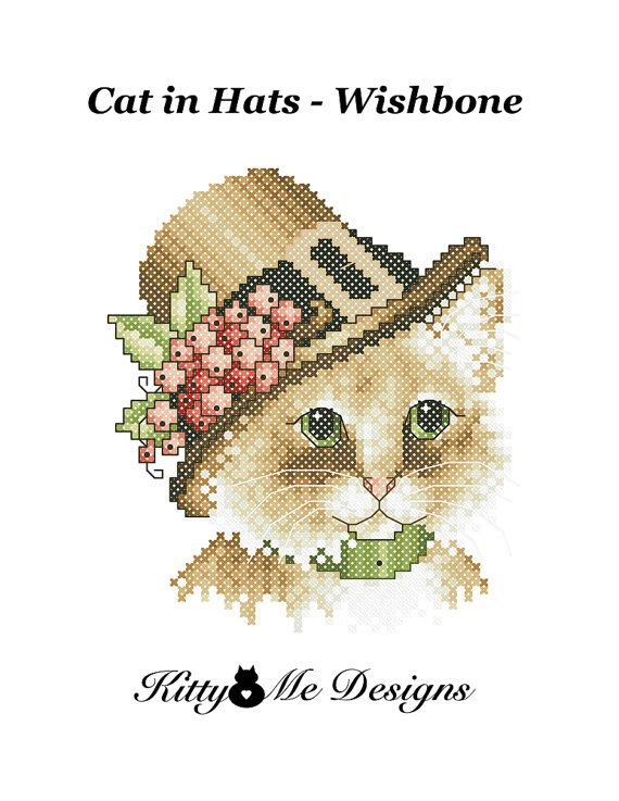 Cross Stitch Pattern PDF  Cats in Hats Wishbone  by arcadecache, $8.95