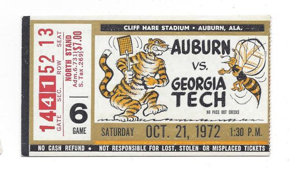 1972 Auburn vs. Georgia Tech Ticket Stub  by FriscoAuctions