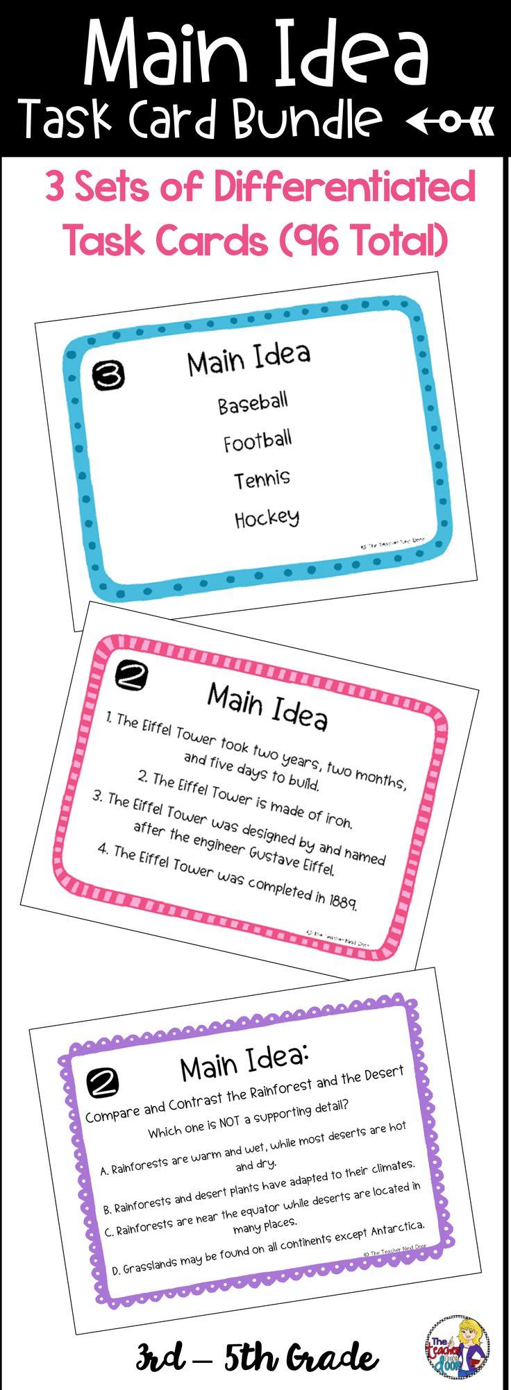 worksheet 4th Grade Main Idea Worksheets 255 best main idea using informational text images on pinterest task card bundle