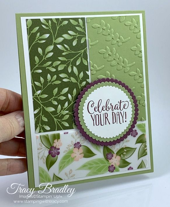Celebration card featuring Stampin' Up! Floral Romance Designer Series Paper and Climbing …