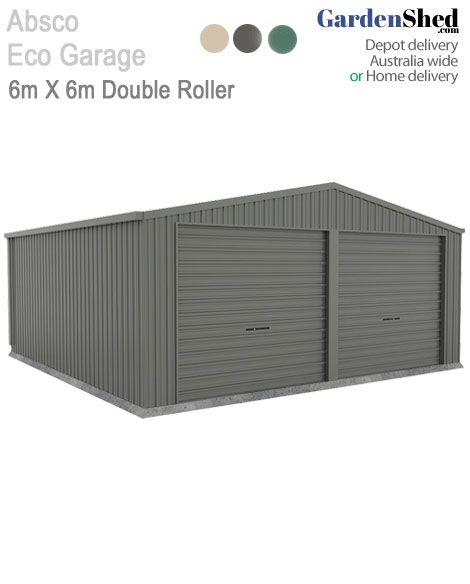 This Absco Garage comes with 2 Roller doors & gutters and downpipe. With a full internal steel frame, this 6x6 will suit all your storage and vehicle needs.