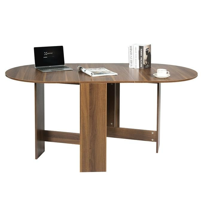 Folding Drop Leaf Dining Table Console Table Space Saving Walnut
