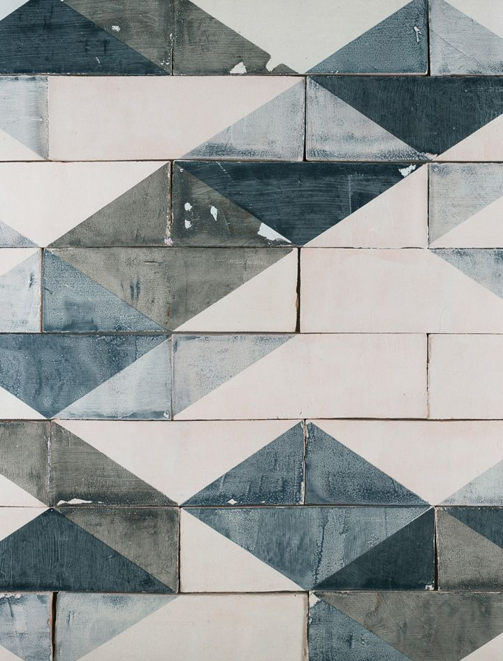 Utterly gorgeous geometric 'Going Overground' handmade ceramic tiles by Smink Things. I adore the tones of denim blue and grey.