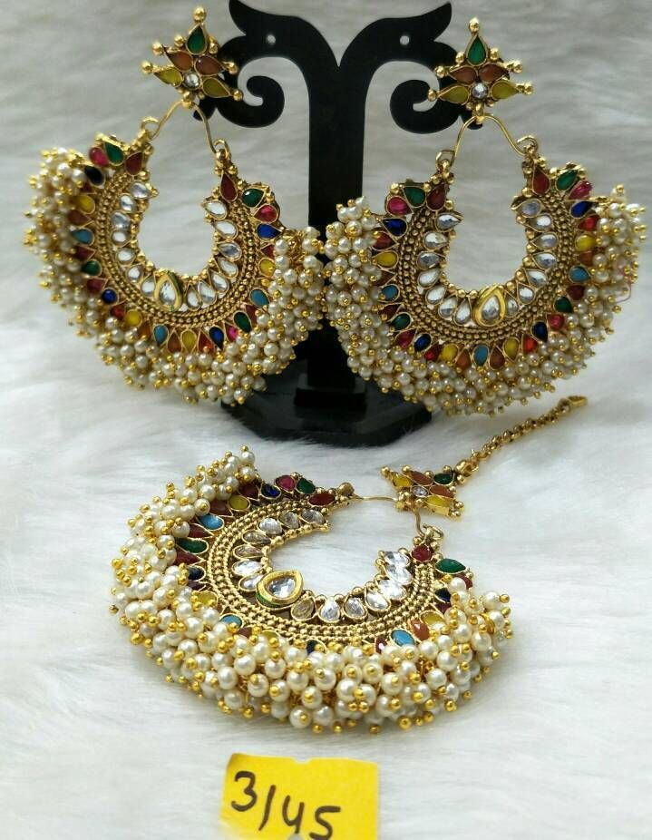 Ethnic Bollywood Fashion Gold Plated Indian Earrings Traditional Jewelry
