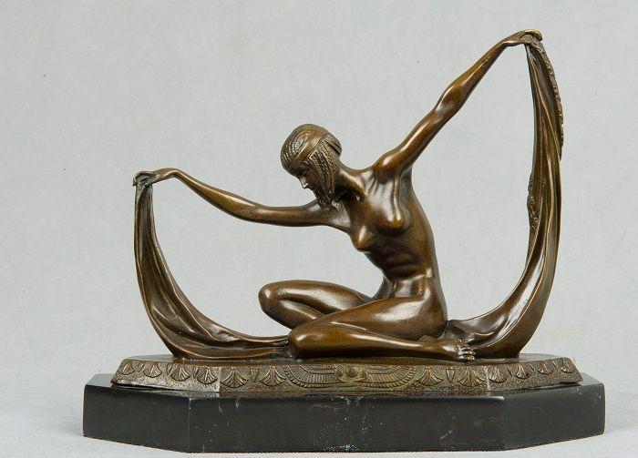 Бесплатная доставка Западной статуя ан бронза Танцовщица Обнаженная девушка Сексуальная Леди Танцы Статуя Бронзовая Скульптура czs-132
