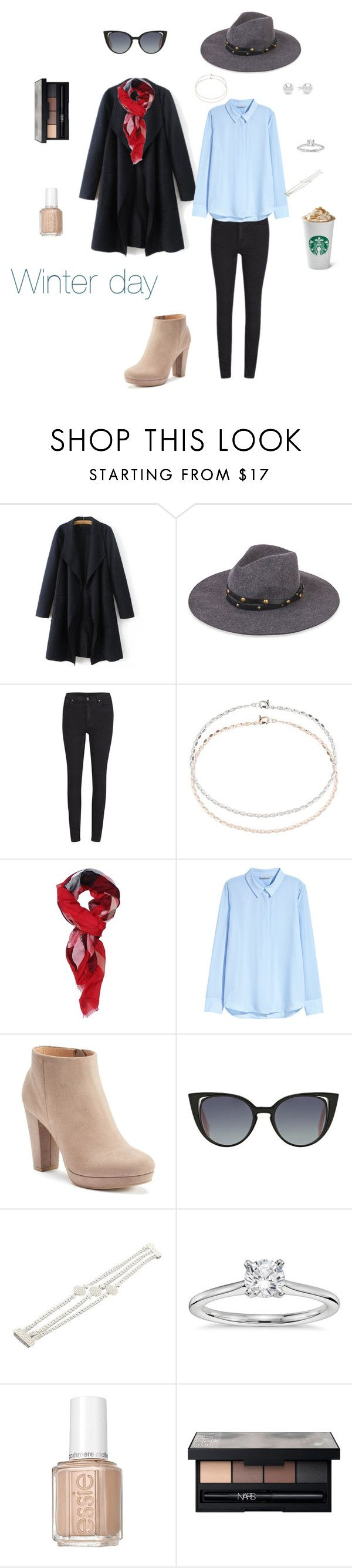 """Daily look : winter day ❄️"" by marion4421 ❤ liked on Polyvore featuring Sensi Studio, Cheap Monday, Miss Selfridge, Burberry, H&M, LC Lauren Conrad, Fendi, John Hardy, Blue Nile and Essie"