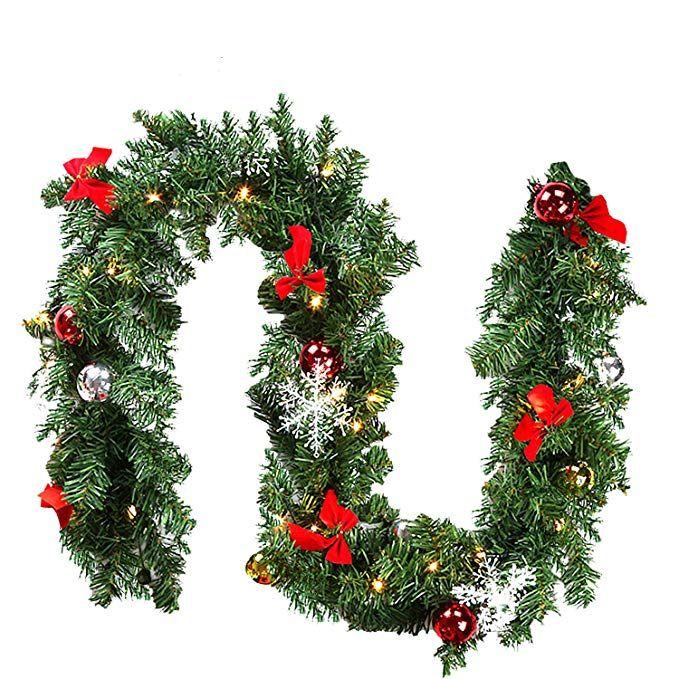 Girlande Weihnachtsgirlande LED Tannengirlande Türgirlande Weihnachtsdeko Außen