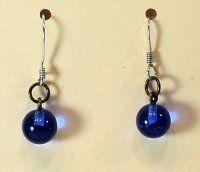 ~:~ Vintage Blue Glass Earrings ~:~