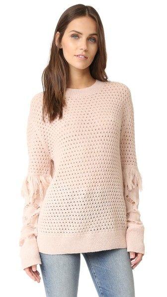 Tanya Taylor Cable Lace Naomi Fringe Sweater | SHOPBOP