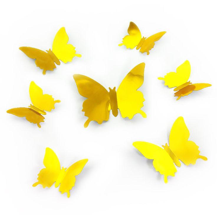 Ideal D Schmetterlinge er Set Wandtattoo Wandsticker Wanddeko gold