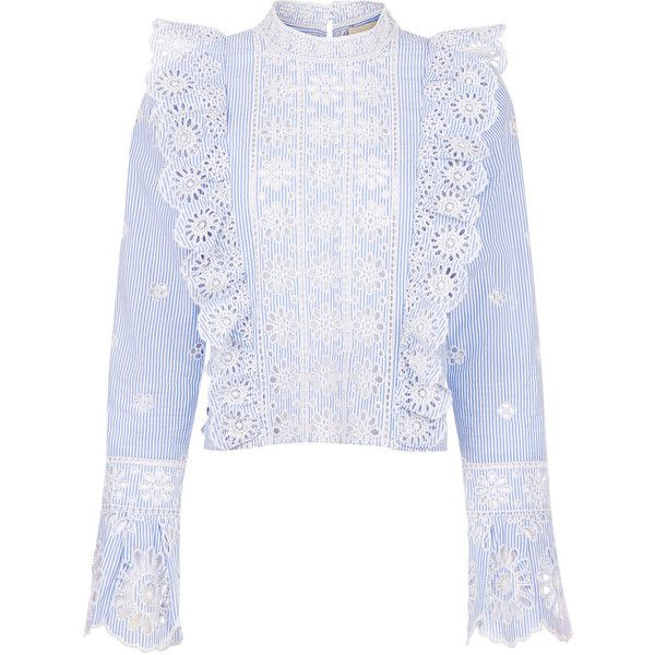 Sea NY Blue Striped Broderie Anglaise Ruffle Blouse (698 535 LBP) ❤ liked on Polyvore featuring tops, blouses, blue ruffle blouse, ruffle blouse, blue blouse, button blouse and embroidered top