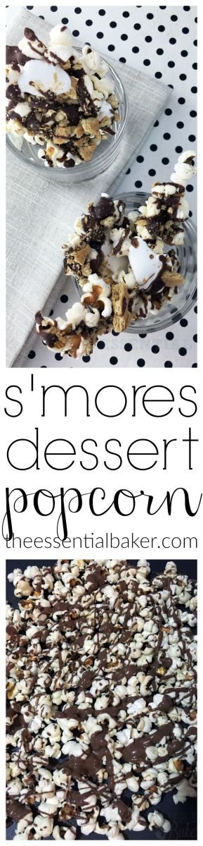 Smores Dessert Popcorn - perfect blend of sweet and salty! Add this to your chocolate and s'mores recipes board!