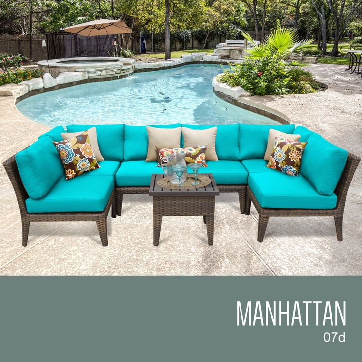 TKC MANHATTAN 7 Piece Outdoor Wicker Furniture Conversation Set 07d, Aruba