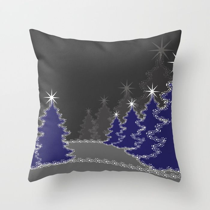 Christmas in blue and gray Throw Pillow
