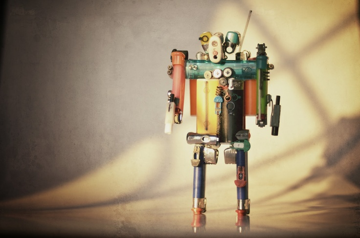 made by us! handmade robot made with lighters