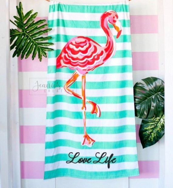 Personalized Flamingo Beach Towel Monogrammed Flamingo Stripes