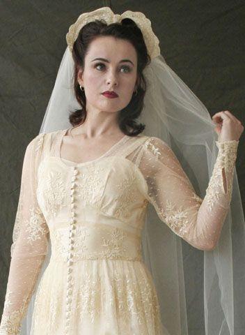 1940's war time wedding dress