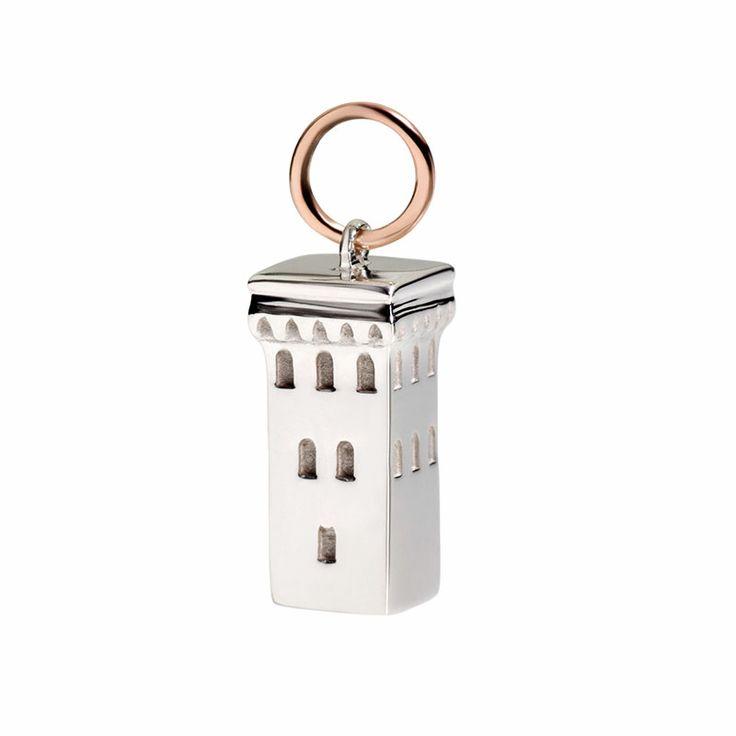 Argento e oro rosa 9k  civita queriot silver rose gold necklace women fashion regalo componibile tower charms