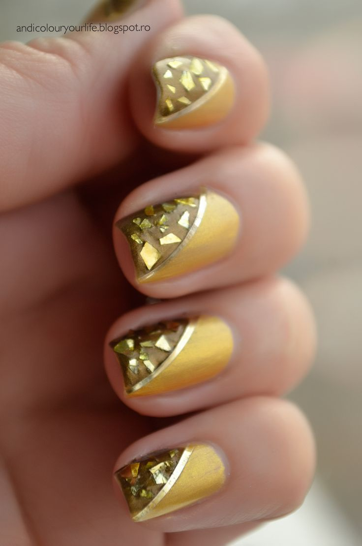 gold foil nail design nail designs Pinterest Posts