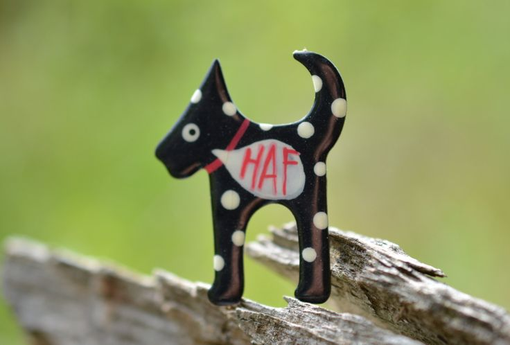 Black Dog Brooch with Polka Dots, Custom Handwriting, Enamel Brooch, Enamel Pin, Hand Drawn Pin, Dog Badge, Dog Enamel Pin by CinkyLinky on Etsy