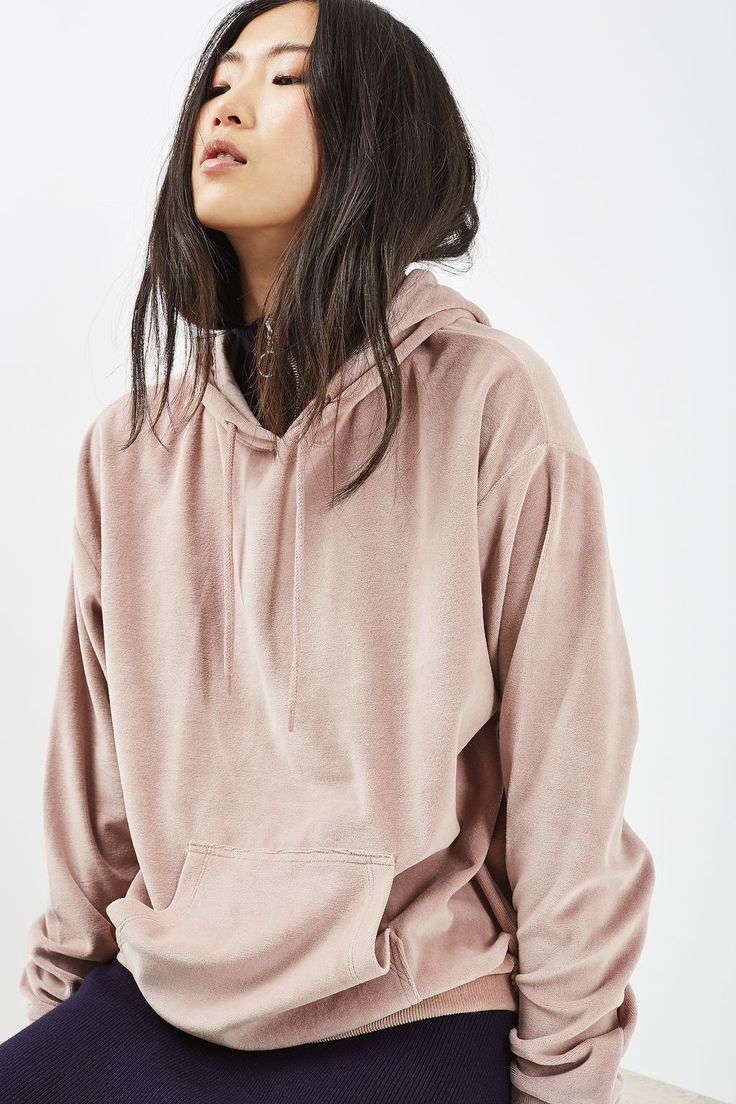 Oversized Velvet Hoodie - Tops - Clothing - Topshop Europe