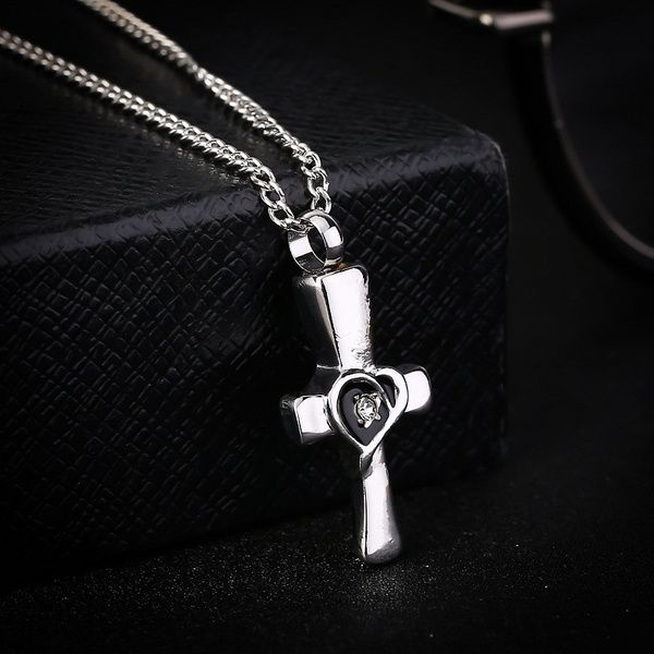 Grandpa Cylinder Cremation Urn Memorial Black Stainless Steel Pendant Necklace