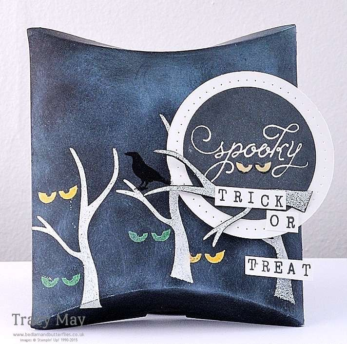 Spooky Stampin' Up! Square Pillow Box Thinlits Dies Halloween Trick or Treat Box by Tracy May