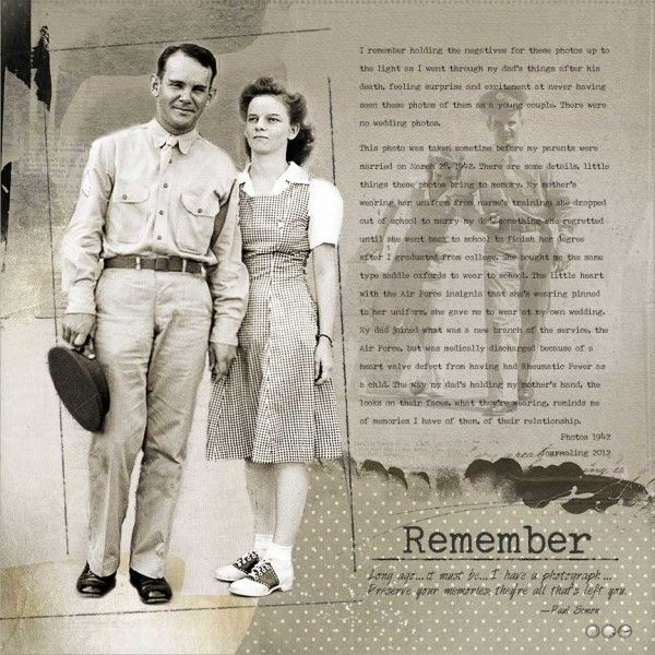 Remember ~ heritage page with wonderful use of a photo enlargement and faded photo background.