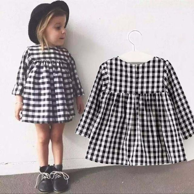 Baby Girl Dress New 2016 Spring Classic Black White Plaid Ca... Baby Dress