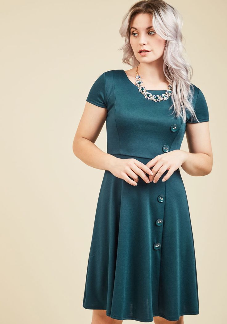 At-Home Entertainer A-Line Dress in Teal   Mod Retro Vintage Dresses   ModCloth.com  As you replenish the canapes and sashay between conversations in this teal dress, your party guests are impressed with your fashionable finesse! Comfortable with its knit fabric, yet polished with a collection of glossy front buttons, this ModCloth-exclusive frock is your best-kept hosting secret!