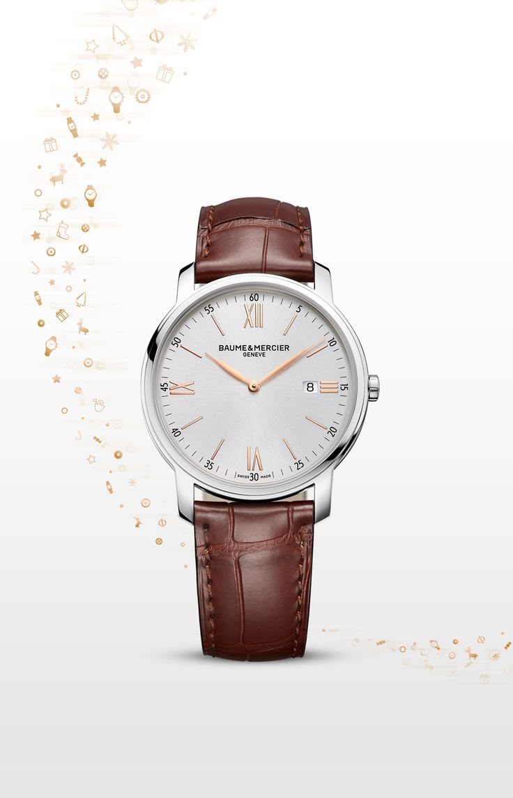 This #Classima watch with a 42 mm-diameter steel case is driven by a Swiss-Made quartz caliber. This #watch features a silver-colored dial with gilt hands. Worn with a red-brown alligator strap closed by a pin buckle, this model epitomizes those chic city values that we instinctively identify with a timeless charm all of their own. #baumeetmercier