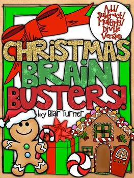 Celebrate the holiday and build number sense and problem solving skills at the same time! This Christmas Brain Busters packet is a set of 10 challenging math equation picture problems that will engage your students this holiday season. PLEASE NOTE: This product is available in two versions.