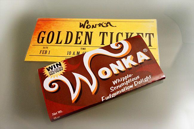 Chocolate Wonka y ticket dorado