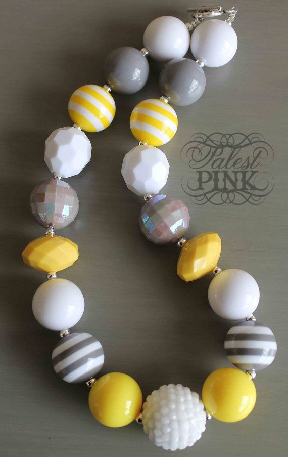 Grey and Yellow Necklace by PalestPink on Etsy, $30.00