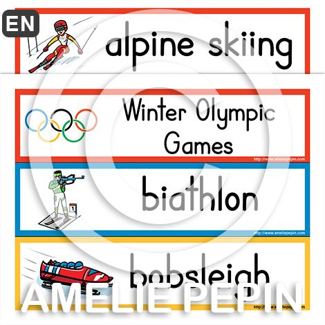 Winter Olympics Illustrated Word Wall - www.ameliepepin.com